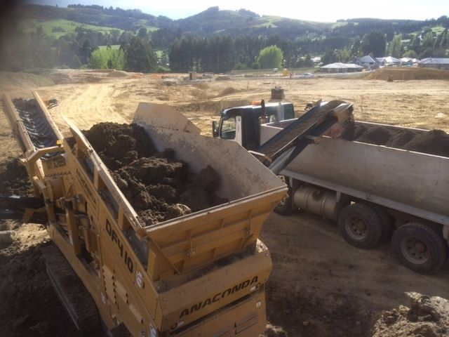 On site soil screening to create new lawn areas